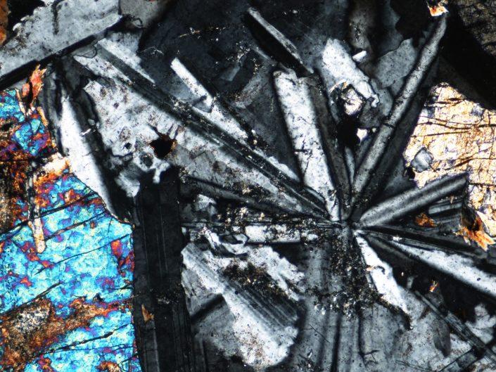 Pogled skozi mikroskop v kamnino diabaz razkriva polisintetsko dvojčičenje in olivin, 0,7 mm, x 0,94 mm). Foto: Matej Dolenec
